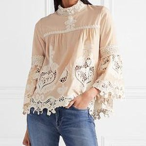 ANNA SUI Cupid And Fairy Crocheted Lace Blouse S